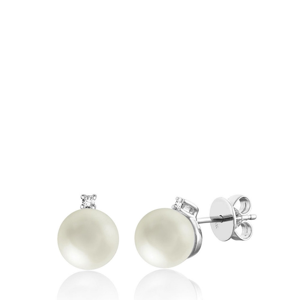 Boucles d'oreilles à tiges fixes pour femme - Or blanc 10K avec perles de culture & Diamants
