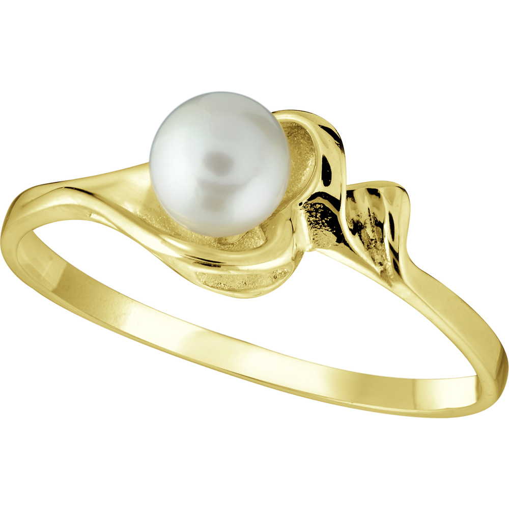 Lady's ring with a cultured pearl of 4mm wide - in 10K yellow gold