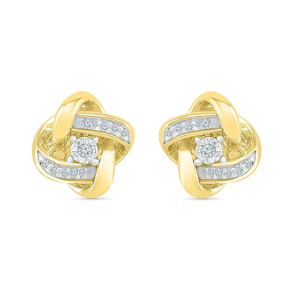 Boucles d'oreilles à tiges fixes pour femme - Or 2-tons 10K (jaune & blanc) & Diamants
