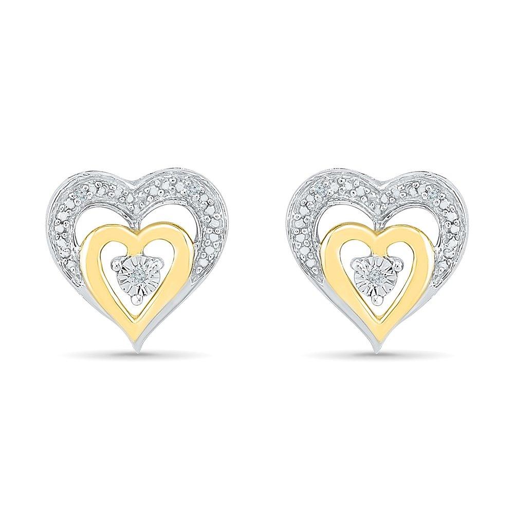 Boucles d'oreilles coeurs à tiges fixes pour femme - Or 2-tons 10K (jaune & blanc) & Diamants