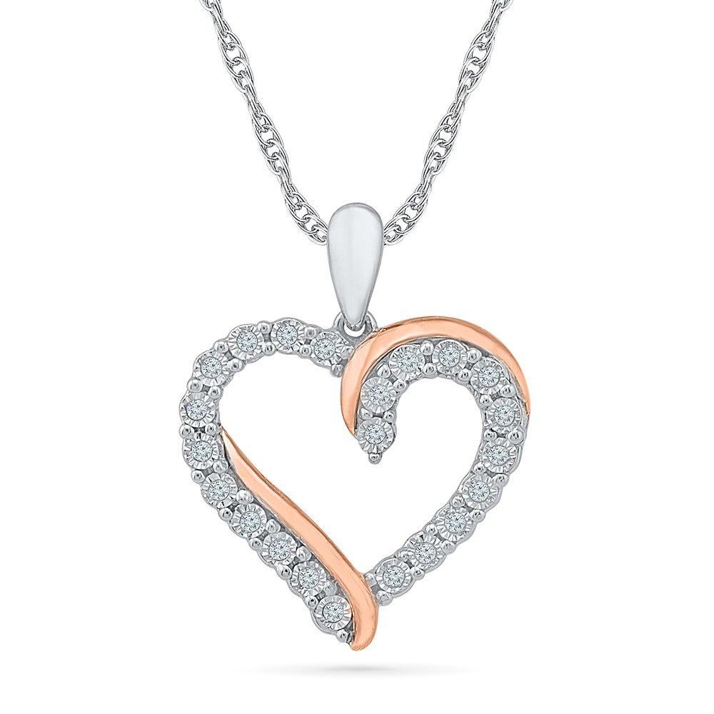 Pendentif coeur pour femme - Or 2-tons 10K (blanc & rose) & Diamants