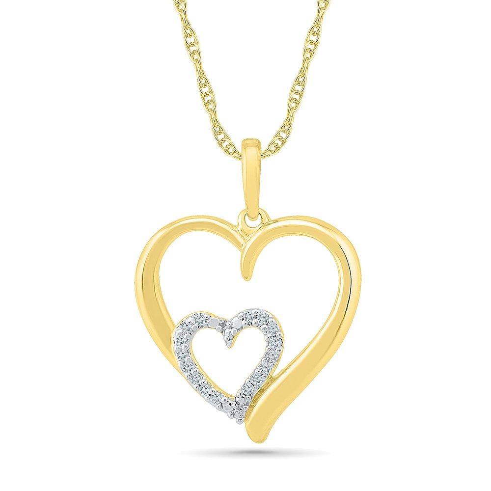 Pendentif coeur pour femme - Or jaune 10K & Diamants