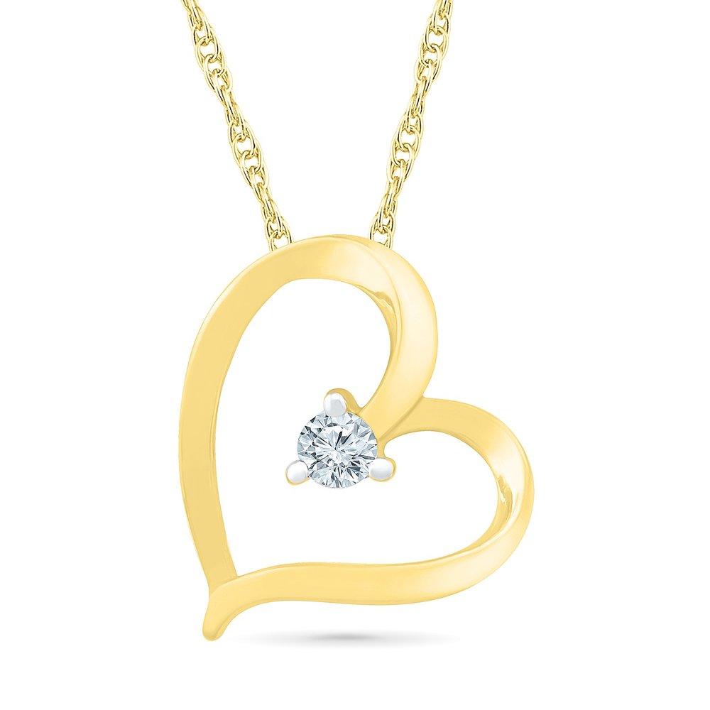 Pendentif coeur pour femme - Or jaune 10K & Diamant