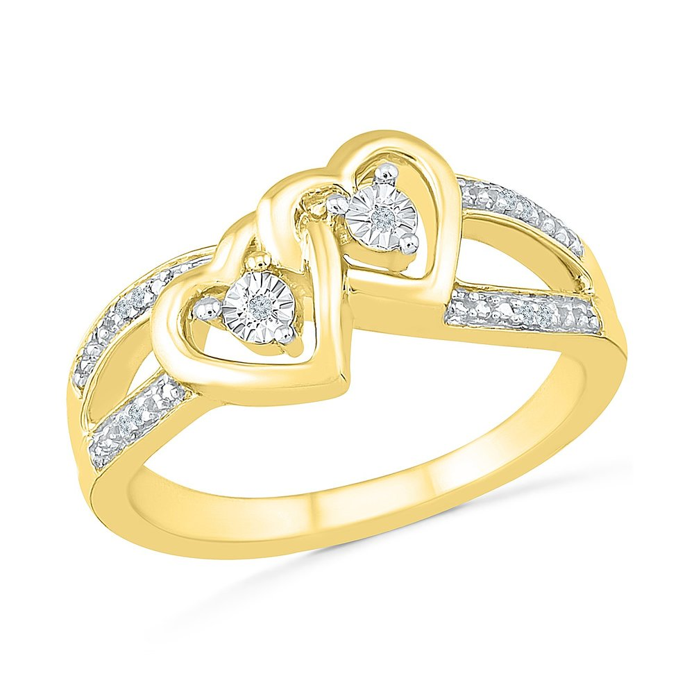 Heart ring for woman - 10K 2-tone gold (yellow & white) & Diamonds