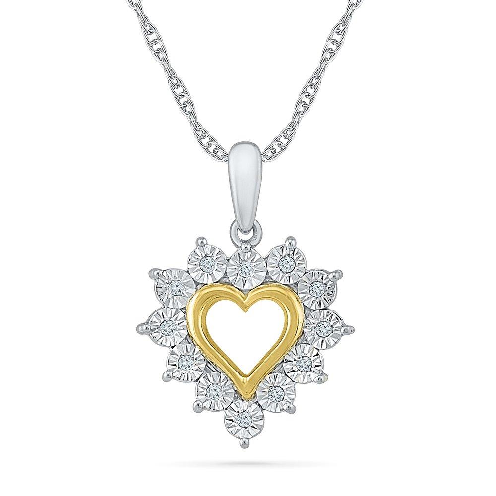 Pendentif coeur pour femme - Or 2-tons 10K (blanc & jaune) & Diamants