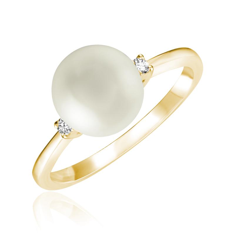 Bague pour femme - Or jaune 10K avec perle de culture & Diamants