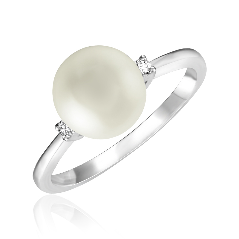 Ring for woman - 10K white gold with cultured pearl & Diamonds