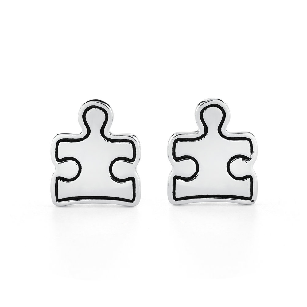AUTISM AWARENESS PUZZLE stud EArrings - STERLING SILVER