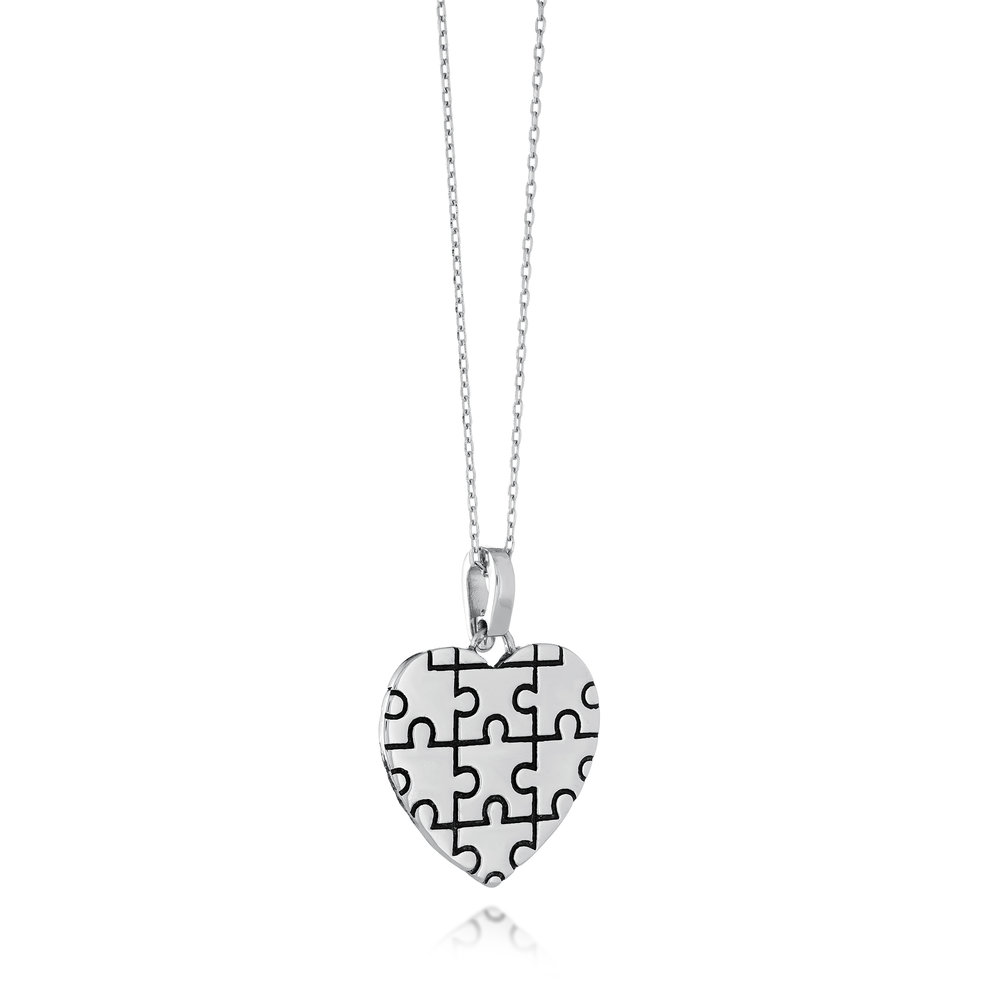 Autism Awareness heart Puzzle pendant - Sterling silver