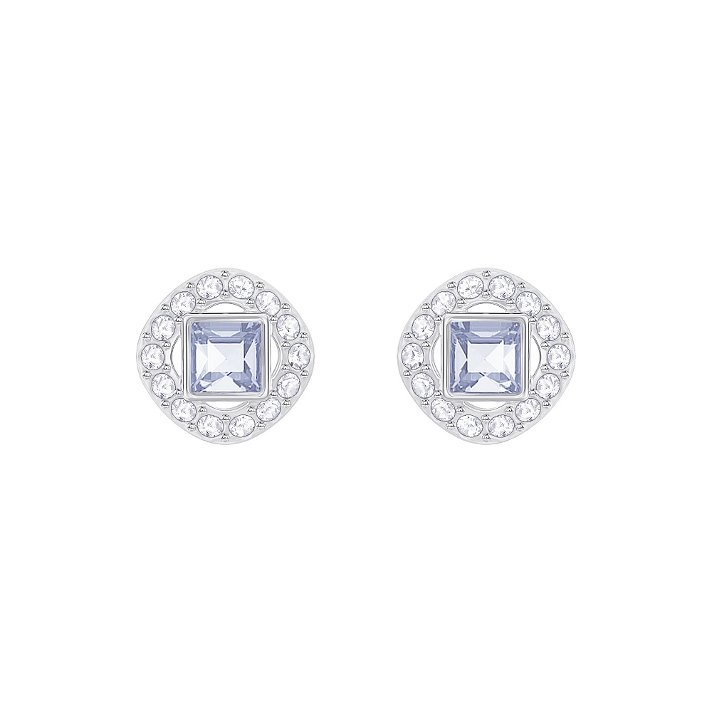 ANGELIC SQUARE PIERCED EARRINGS, BLUE, RHODIUM PLATING