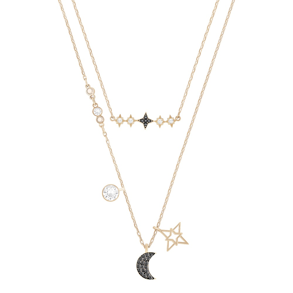 SYMBOLIC MOON NECKLACE SET, MULTI-COLORED, MIXED PLATING