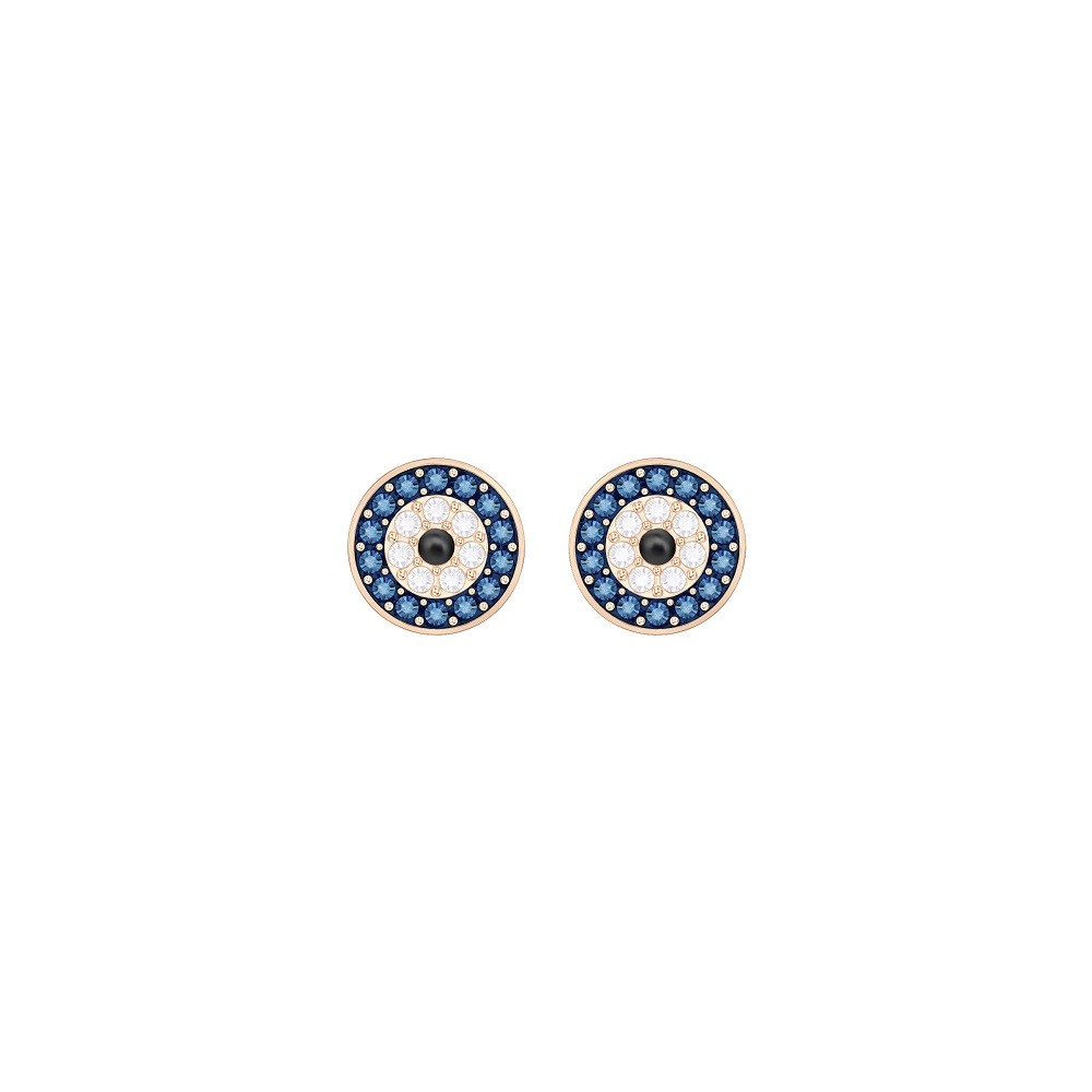 LUCKILY EVIL EYE PIERCED EARRINGS, MULTI-COLORED, ROSE GOLD PLATING