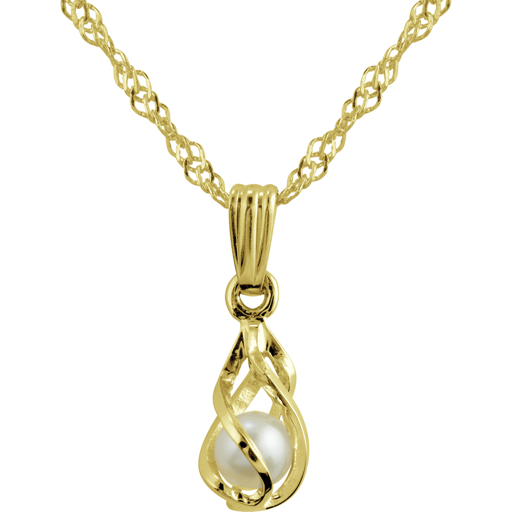 Pendant cult pearl in cage 10K yellow Gold + 16in chain