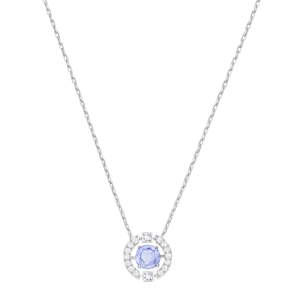 SPARKLING DANCE ROUND NECKLACE, BLUE, RHODIUM PLATING