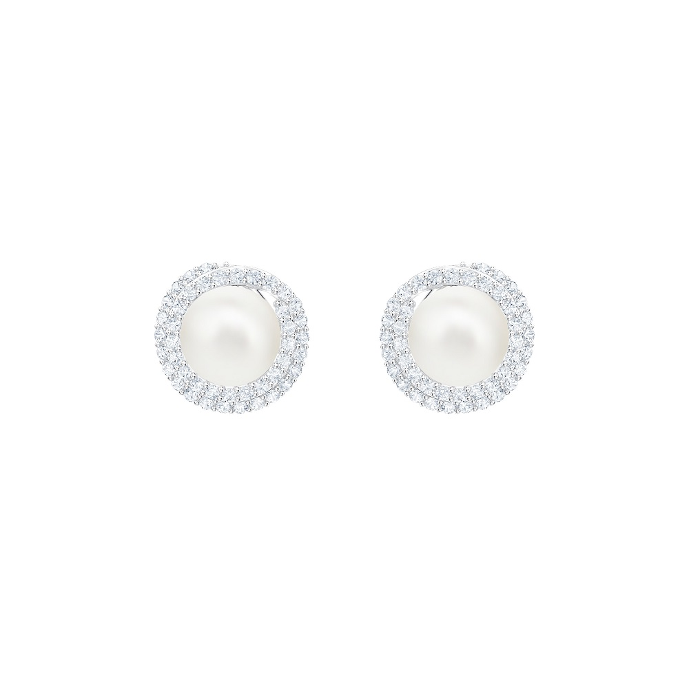 ORIGINALLY PIERCED EARRINGS, WHITE, RHODIUM PLATING
