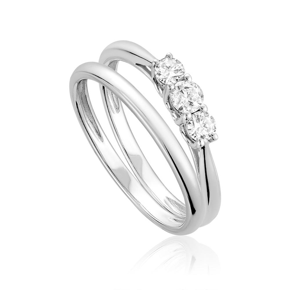 Trinity wedding set for woman - 10K white gold & diamonds
