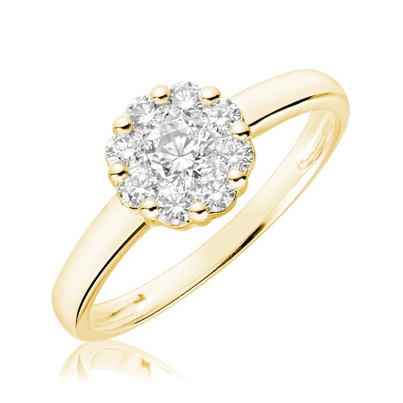 Flower ring for woman - 10K yellow gold & Diamonds