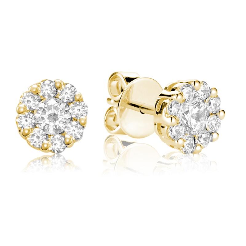 Boucles d'oreilles fleurs à tiges fixes pour femme - Or jaune 10K & Diamants