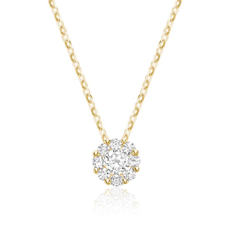 Pendentif fleur pour femme - Or jaune 10K & Diamants