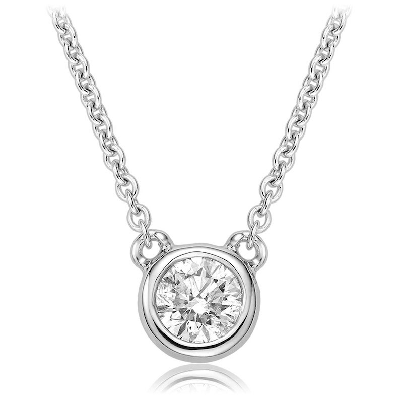 Necklace for woman - 10K white gold & Solitaire diamond