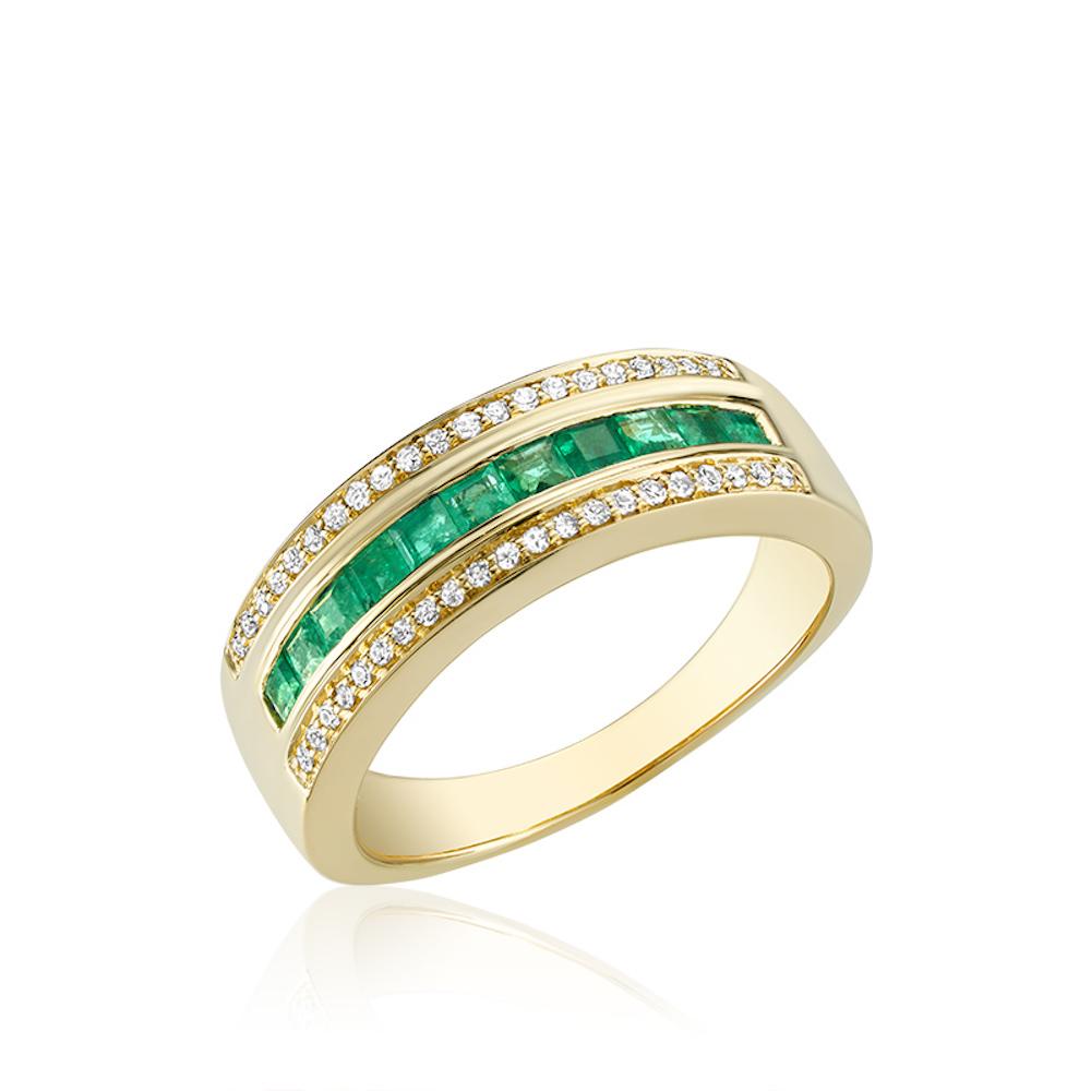 Bague pour femme - Or jaune 10K avec Diamants & Émeraudes