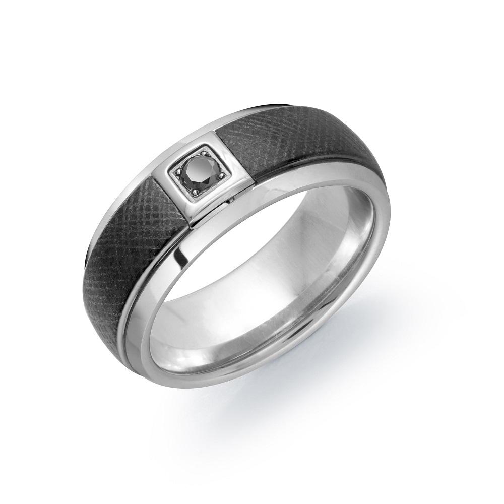 Band for man - 2-tone Tungsten & Black diamond
