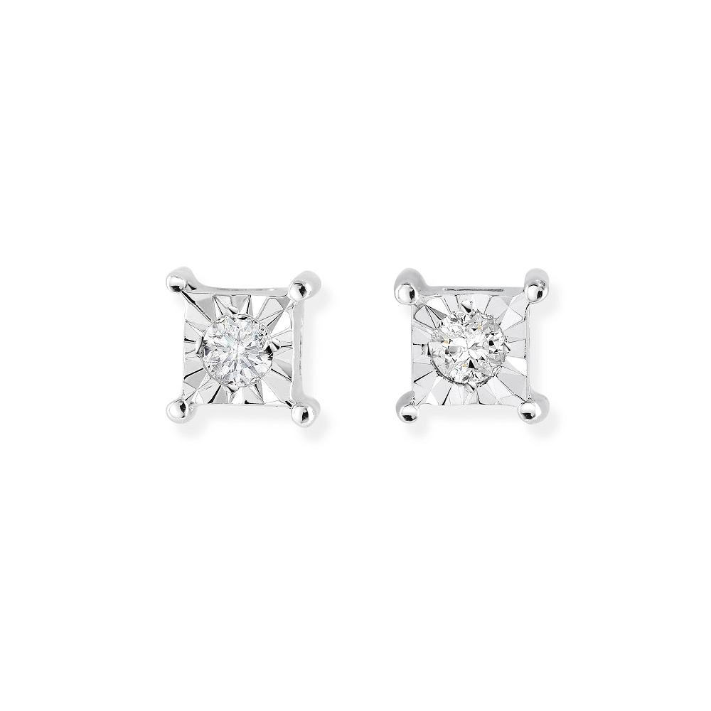 Boucles d'oreilles carrés à tiges fixes pour femme - Or blanc 10K & Diamants