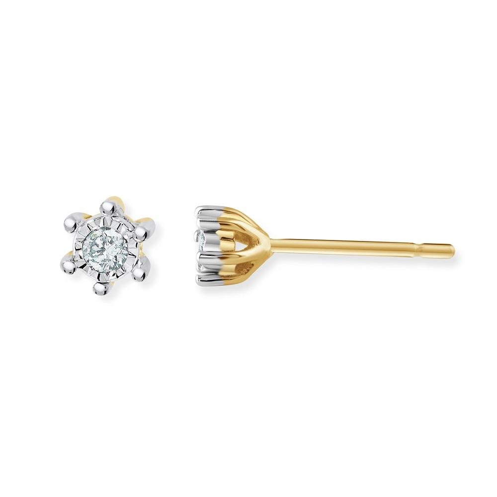 Boucles d'oreilles à tiges fixes pour femme - Or jaune 10K & Diamants
