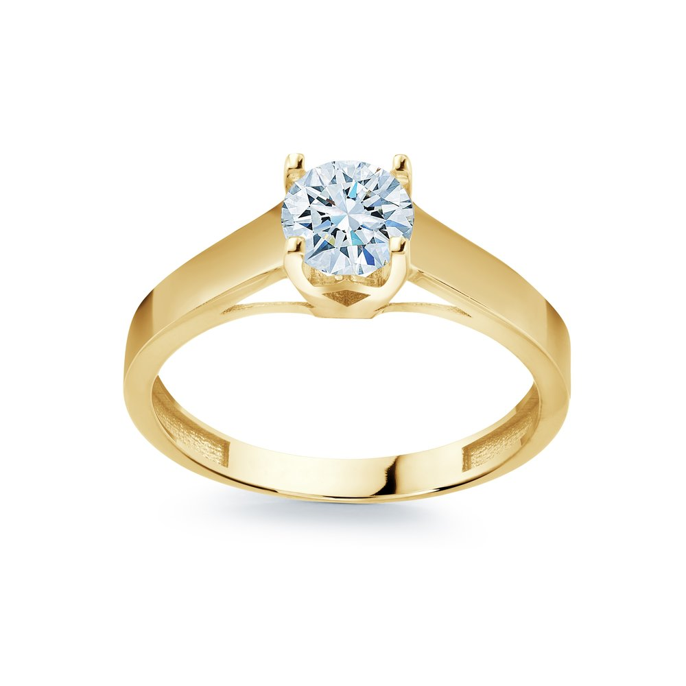 engagement ring for woman - 10K  gold & solitaire cubic zirconia