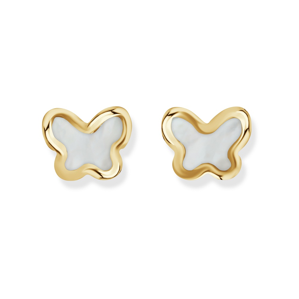 Butterfly stud earrings for child - 10K yellow gold & Enamel