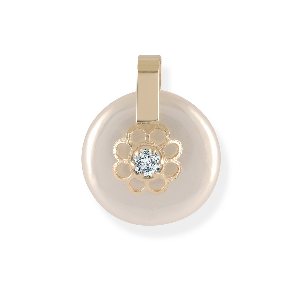 Pendant for baby - 10K yellow Gold with mother of pearl & cubic zirconia