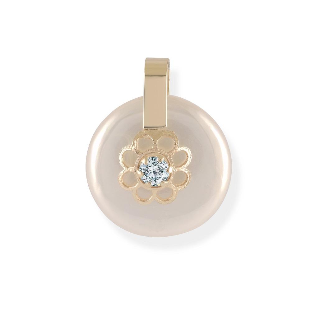Pendentif pour bébé - Or jaune 10K avec nacre de perle & zircon cubique