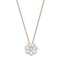 FLOWER SWAROVSKI PENDANT SMALL, WHITE, RHODIUM PLATING