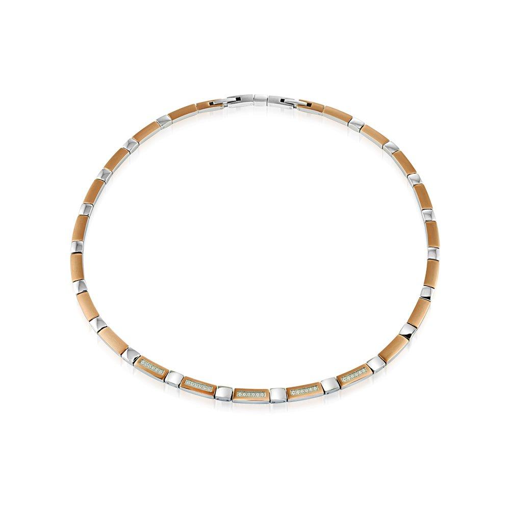 Italgem Pink steel necklace & cubic zirconia white