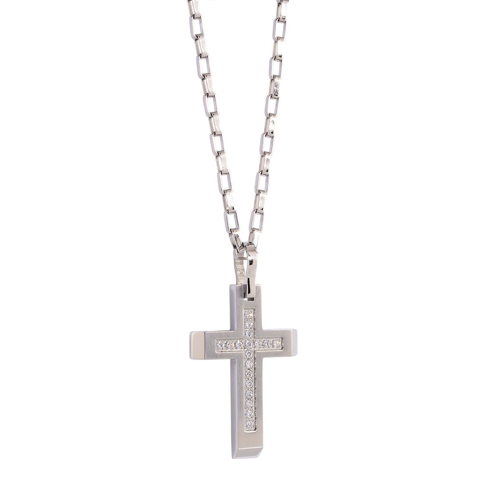 Cross Pendant, Cubic Zirconia White Steel with Chain