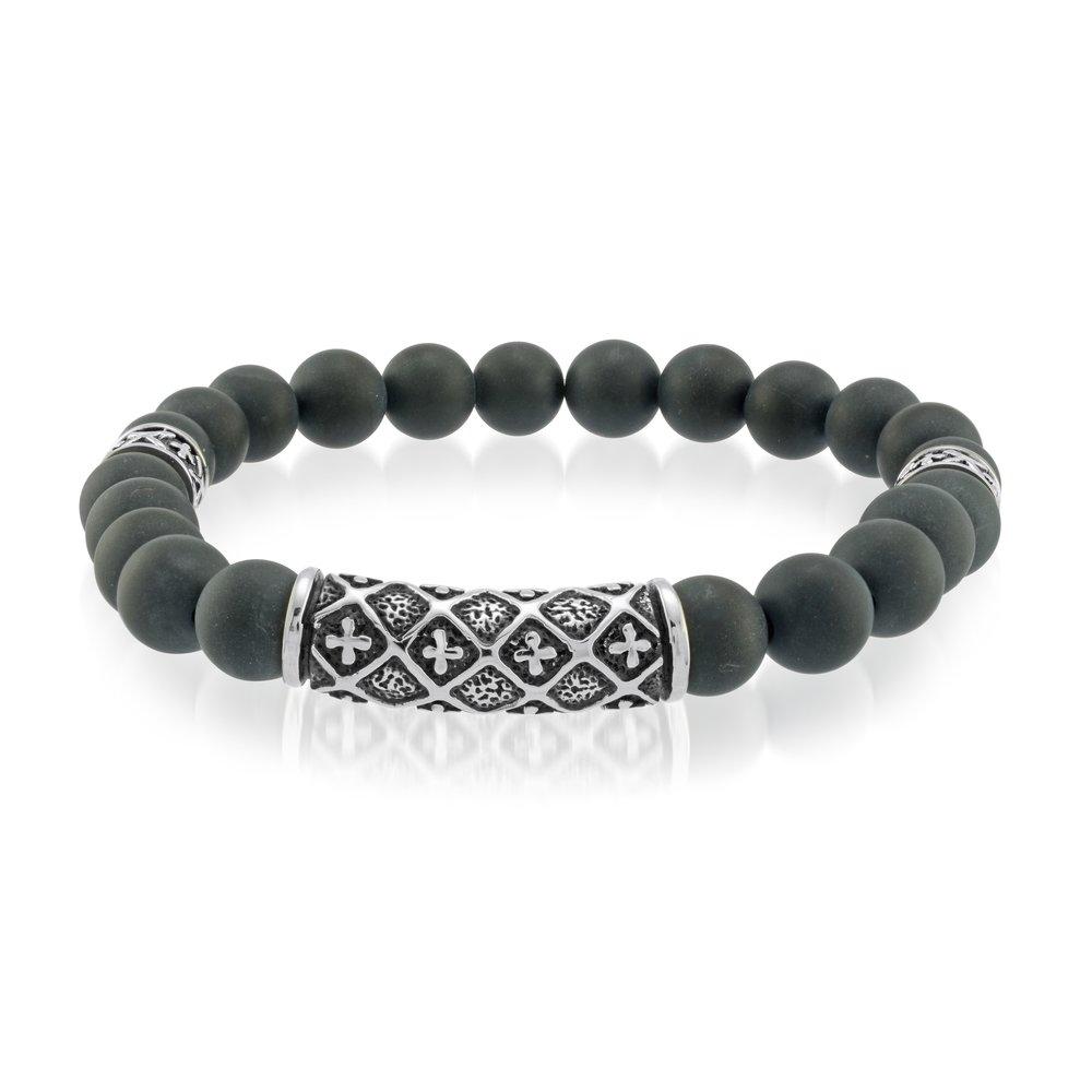 Italgem pearl bracelet in stainless &  black steel