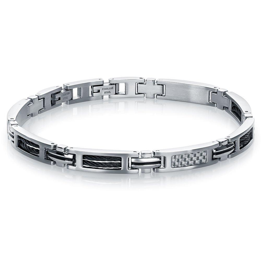 Bracelet Steel Cable Black & Carbon Fiber White