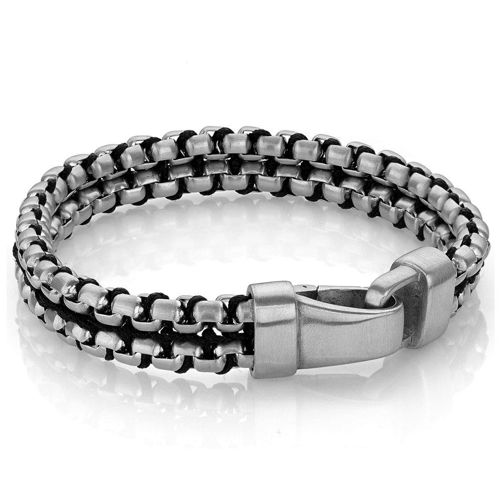 talgem bracelet in double rows steel & nylon cord