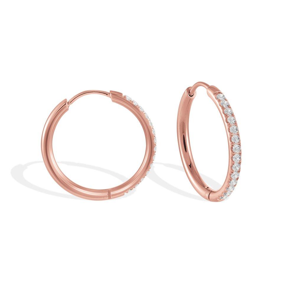 Boucles d'oreilles Anneaux - Acier Inoxydable Rose & Zircons Cubiques