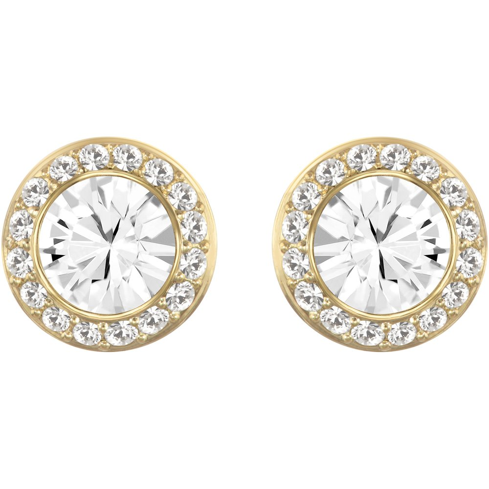 Stud Earrings Angelic , White & Gold Metal