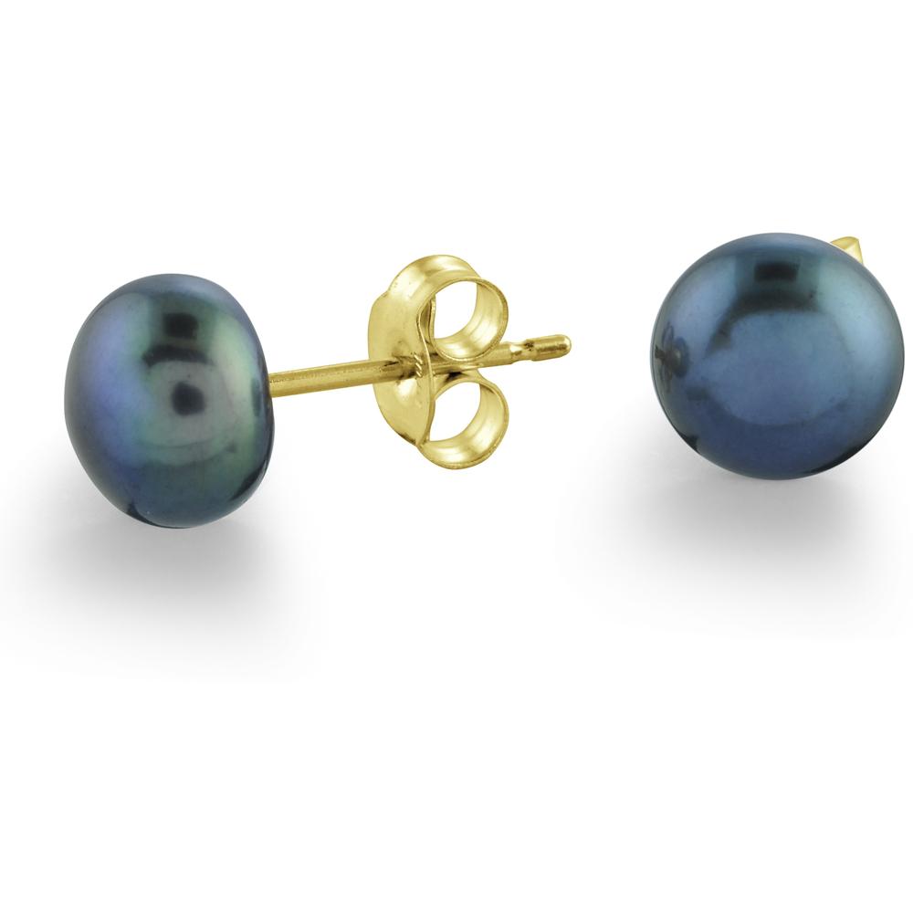 Boucles d'oreilles Or jaune 10K Perles d'Eau Douce noires 6.5-7mm