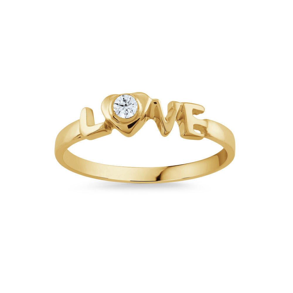 RING FOR CHILD 10K YELLOW GOLD & WHITE CUBIC ZIRCONIA