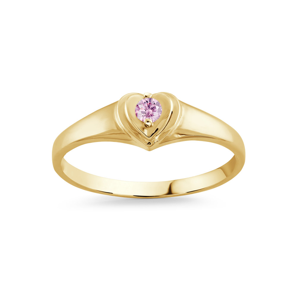 RING FOR CHILD 10K YELLOW GOLD & PINK CUBIC ZIRCONIA