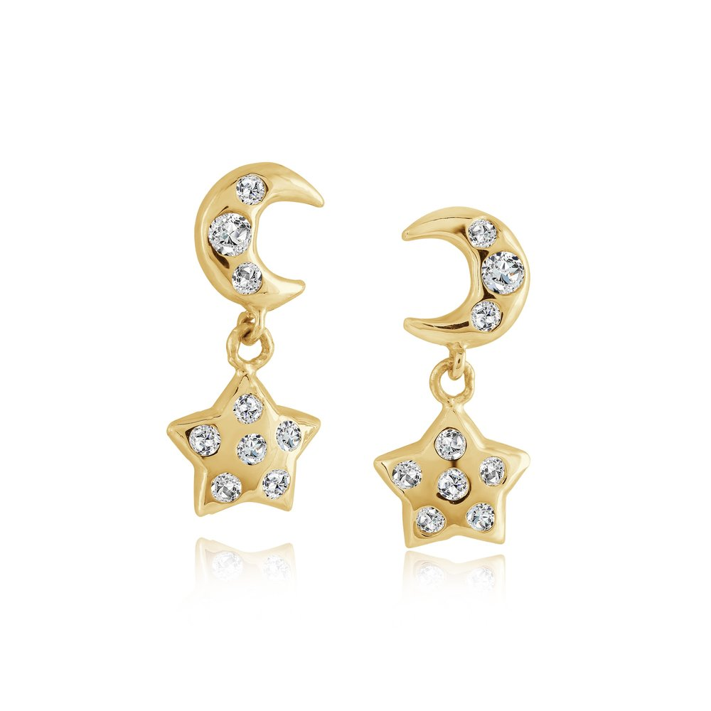 Boucles D'oreilles Étoile Cubique Zircon Vissée & Or Jaune 10k