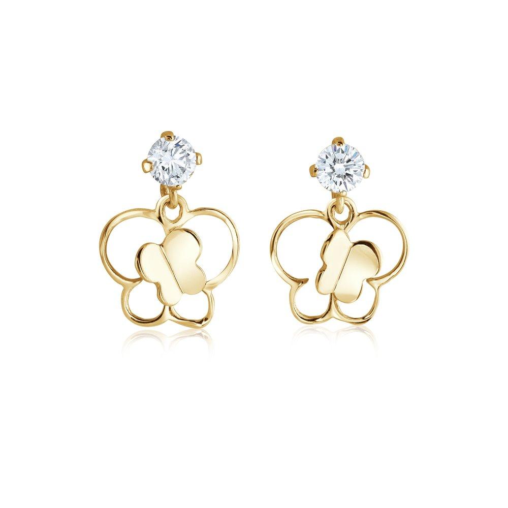 Butterfly Earrings Screwed Cubic Zirconia & 10k Yellow Gold