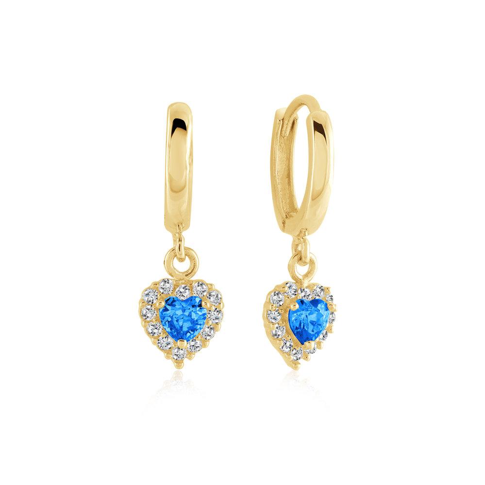 Heart Earrings Cubic Zirconia Blue December & 10k Yellow Gold