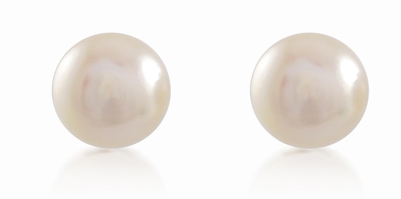White fresh water pearl stud earrings 8.5-9mm - in 10K yellow Gold