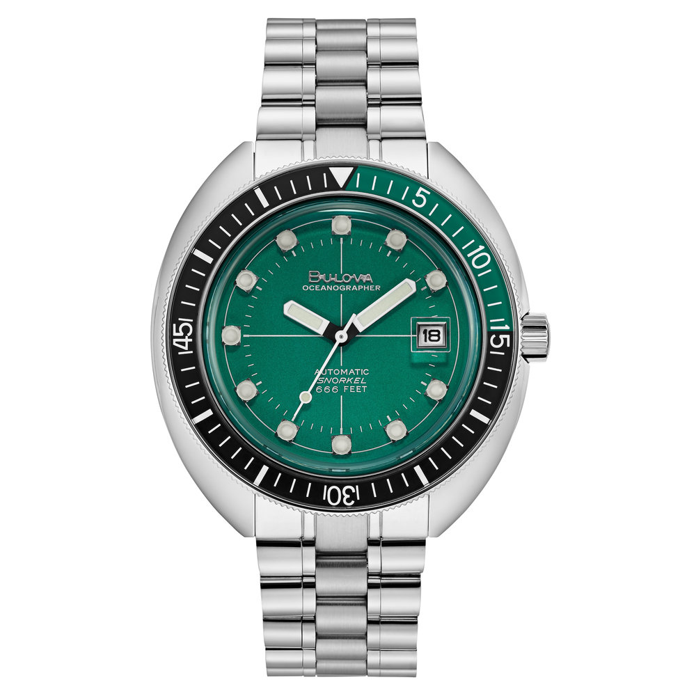 WATCH FOR MEN, OCEANOGRAPHER BLACK AND GREEN & STAINLESS STEEL