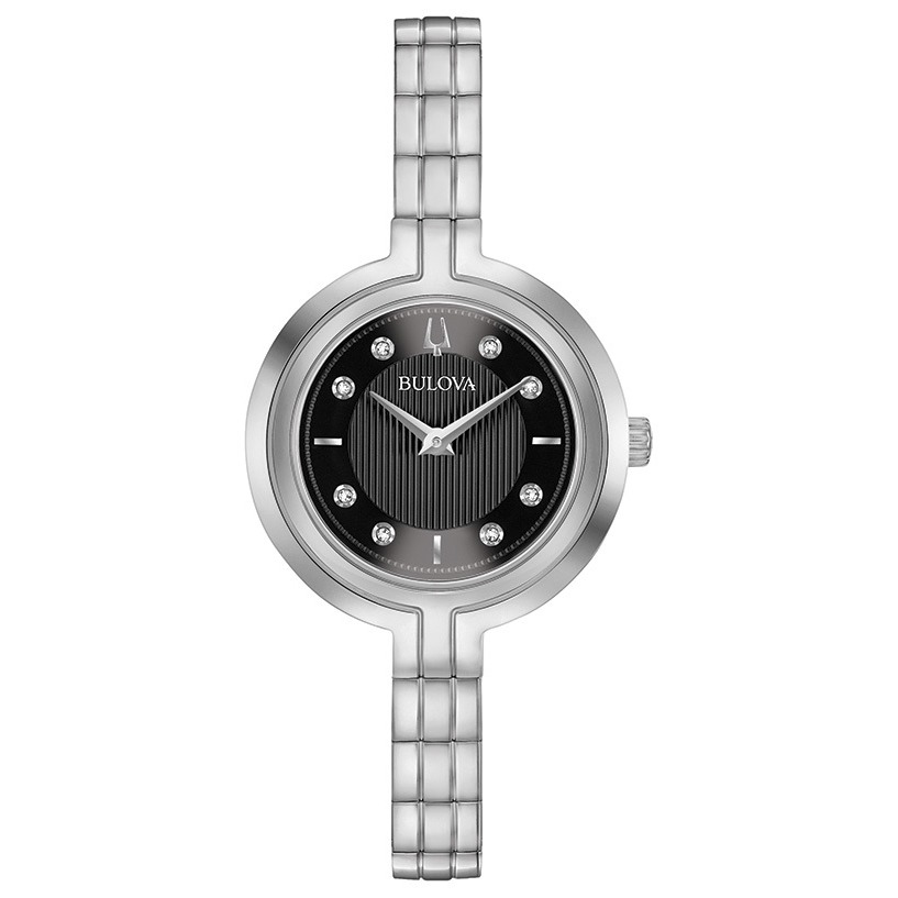 WATCH FOR WOMEN SILVER TONE STAINLESS STEEL WITH BLACK DIAL & DIAMONDS