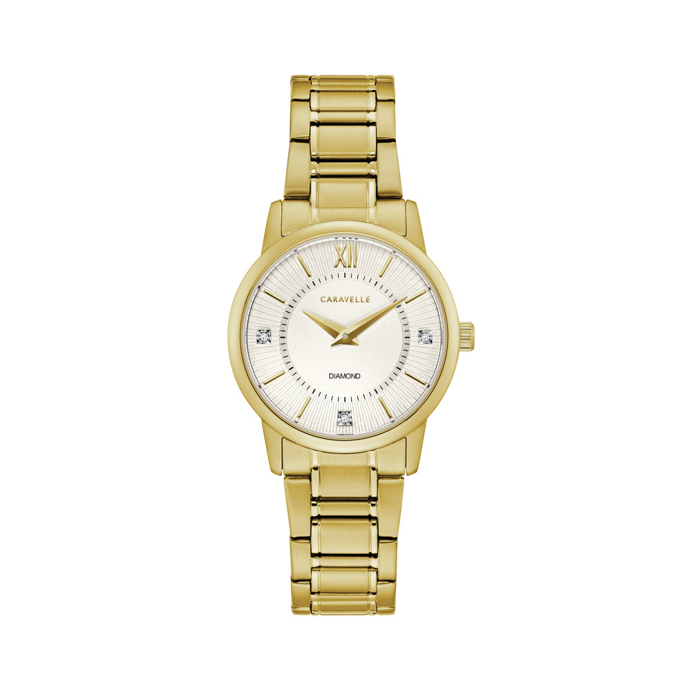 WATCH FOR WOMEN GOLD TONE STAINLESS STEEL WITH THREE DIAMONDS